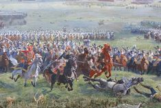 Marshal Ney, ADC Colonel Heymes and ADC Levavasseur charging at the Battle of Waterloo 1815 from the Panorama painting at the Waterloo battle site. Waterloo 1815, Battle Of Waterloo, Bataille De Waterloo, Colonel, Military Figures, Miniature Figurines, Napoleonic Wars, Scene, Painting