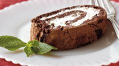 Make your dessert table special with this minty cake roll that's made with chocolate.