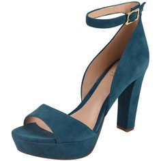 Vince Camuto Sakari (394648501) ($137) ❤ liked on Polyvore featuring shoes, teal suede, high heel shoes, teal blue shoes, block heel shoes, vince camuto footwear and suede leather shoes