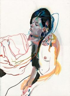 "Sasha Grey.Ink & Pastel on Paper, 22 x 30"", 2009."