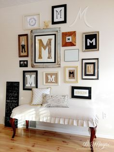 Check out the bench and gallery wall. . .Gallery Wall Entryway - blogger homes