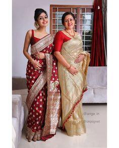 Indian Bridal Sarees, Indian Bridal Outfits, Indian Designer Outfits, Indian Beauty Saree, Silk Saree Blouse Designs, Fancy Blouse Designs, Saree Blouse Patterns, Silk Sarees, Lehenga
