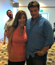 Nathan Fillion, with twine (sort of) photo bombed by Wil Wheaton. #Furiouslyhappy