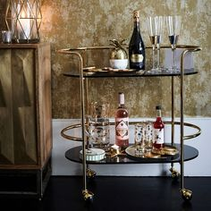 Home Cocktail Bar, Cocktail Trolley, Drinks Trolley, Cocktail Shaker, Bar Trolley, Bar Carts, Black Bar Cart, Metal Bar Cart, Bar Cart Styling