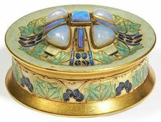 Lalique Box Au Lierre c 1902 ~ high gold, enamel, opal, and chalcedony comprised Ivy w/ purple berries, green water, and Cabochons