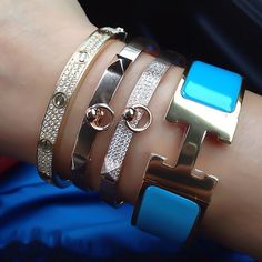 Updated as of February 2016 Presenting the Cartier Love Bracelet. Hermes Bracelet, Cartier Love Bracelet, Rich Girl, Bangles, Bracelets, We Heart It, Prada, Bling, Jewels