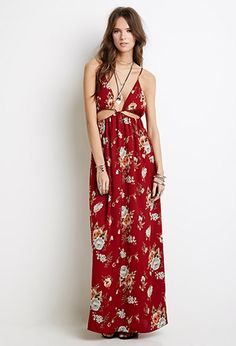 OMG! This dress right here is perfect! LOVE! Sateen Floral Maxi Dress