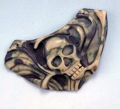 Hand Carved Skull Pendant Cabochon DRILLED  by WildRavenStudio, $56.00