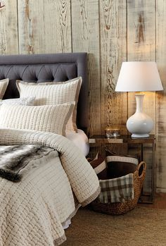 In the cooler months, we love to bring a large basket into the bedroom for catching throw pillows when we're climbing into bed and also storing extra throw blankets in case we get extra chilly in the middle of the night! #tip
