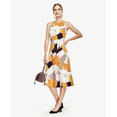 Ann Taylor Petite Mixed Floral Fit and Flare Dress