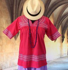 Raspberry Blouse, Albarradas Mexican, Hippie Cowgirl Boho Peasant Vintage Style #Handmade #HuipiltunicHuipil