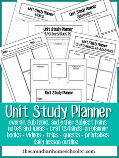 Making your own unit study can be a lot of fun, and mean that you can tailor fit it to your child& favourite subjects and interests. This planner can help you find the resources to use in your study. Lesson Planner, Study Planner, Homeschool Curriculum, Homeschooling Resources, Homeschool Worksheets, Homeschool Books, Unit Plan, Home Schooling, Science
