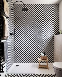 TB to this amazing bathroom Hackney, Herringbone - kohl/milk #marrakechdesign #design #matstheselius #interior #interiodesign #concretetiles #contemporarytiles #handmadecementtiles