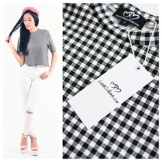 Boxy Crop Top In Gingham... <3 Boxy Crop Top, Crop Tops, Love Clothing, Gingham, Clothes, Outfits, Clothing, Kleding, Outfit Posts