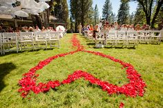 Aisle lined with rose petals in the shape of a heart!