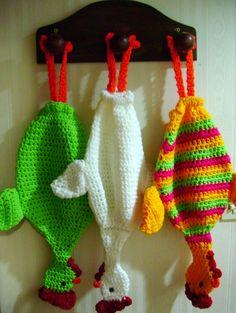 Gallinitas guarda bolsas tejidas a crochet, Colores a elección.