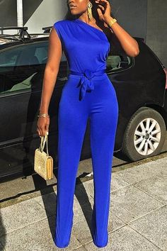 One Shoulder Knot Sleeve Jumpsuit Classy Outfits, Chic Outfits, Dress Outfits, Fashion Dresses, Summer Outfits, Shoulder Knots, Jumpsuit With Sleeves, Black Girl Fashion, Jumpsuits For Women