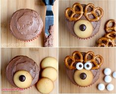 It's the most wonderful time of the year to bake! Try out this easy-to-make reindeer cupcake! Christmas Cake Decorations, Christmas Cupcakes, Christmas Desserts, Christmas Treats, Xmas Food, Christmas Cooking, Cupcake Recipes, Cupcake Cakes, Center Blog