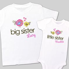 zoeys attic personalized gifts -  Big sister little sister whimsy bird sibling Tshirt set , $32.00 (http://www.zoeyspersonalizedgifts.com/products/big-sister-little-sister-whimsy-bird-sibling-tshirt-set.html)