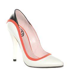 #Decoltè in pelle bianca con rifiniture nere e rosse di #Fornarina > http://www.tentazioneshop.it/scarpe-fornarina/decollete-8732-bianco-fornarina.html