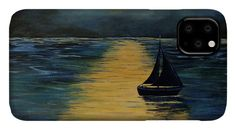 Landscape IPhone Case featuring the painting Midnight seascape by Iulia Paun