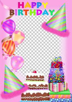 The Birthday Girl on Craftsuprint - This is a fun pink themed birthday card.You can add your own photo and text to this card. - Now available for download!