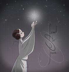 FR-: Adieu Leia, princesse des étoiles à jamais… EN-: Farewell Leia, star princess forever… https://www.facebook.com/artofdavidgilson/