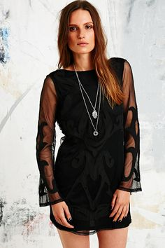Stone Cold Fox X UO Long-Sleeved Low Back Dress in Black. Wear with heels and accessories