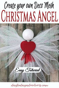 Deco Mesh Christmas Angel Tutorial — Day to Day Adventures - Tutorial to make a Deco Mesh Angel. Make these in any size for wreaths or tree toppers # - Diy Christmas Angel Ornaments, Diy Christmas Tree Topper, Diy Tree Topper, Handmade Christmas Crafts, Christmas Mesh Wreaths, Christmas Angels, Holiday Crafts, Christmas Diy, Tree Toppers