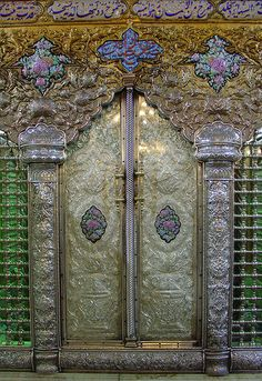 Door in the shrine of the Mausoleum Sayyida Ruqayya in Damascus