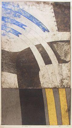 林孝彦 HAYASHI Takahiko 1989  89-風の背骨-11P  86-Backbone of the Wind-11P  66.5x 37cm  copperplate print with chine colle'( etching)