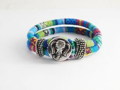 African Elephant Bracelets Tribal Jewelry Colorful African Bracelets Fabric Snap Bracelets Cute Afrocentric Ethnic Jewelry (19.99 USD) by TheBlackerTheBerry