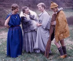"""Recreations of clothes from the time of the Tollund Man (4th century). The Iron Age lasted from approximately 500 B.C. until 800 A.D. The name """"Iron Age"""" is connected with the fact that after the end of the Bronze Age a method for extracting iron was discovered."""