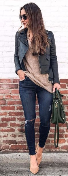 #winter #outfits  black zip-up jacket, brown top and black jeans