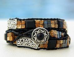 "Yellowstone... Leather wrap bracelet.... ""Touch of nature"" Triple wrap bracelet. Original OceanBead style."