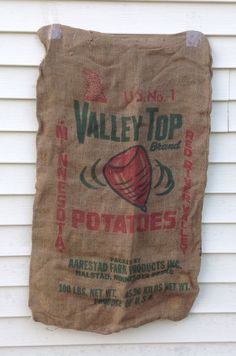 Two burlap potato bags by hootnanniesbyjeanne on Etsy, $18.00