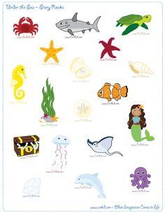 CreKid.com - FREE Story Rocks Printouts - Ocean Theme Story Rocks - Spark your child's imagination and creativity. Preschool - Pre K - Kindergarten - 1st Grade - 2nd Grade - 3rd Grade. www.crekid.com