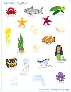 CreKid.com - FREE Story Rocks Printouts - Ocean Theme Story Rocks - Spark your…