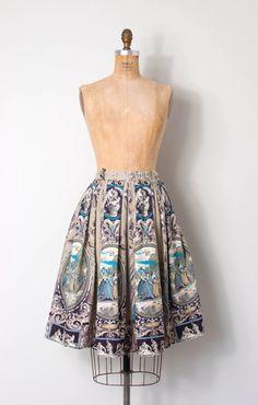vintage 1950s novelty skirt 50s novelty print by SwaneeGRACE