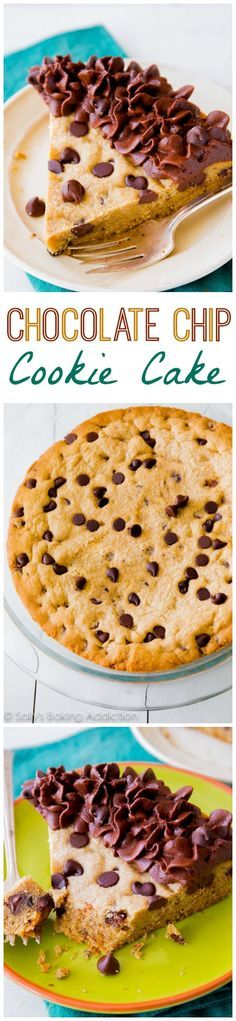 My favorite way to eat a chocolate chip cookie - when it's the size of a cake! Decorate with frosting, slice, and serve.