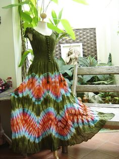 Princess Tie Dyed Cotton Dress  G0306 by fantasyclothes on Etsy, $48.00