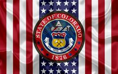 Download wallpapers Colorado, USA, 4k, American state, Seal of Colorado, silk texture, US states, emblem, states seal, American flag