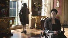 Silver Screen Surroundings: Outlander, S1E10. Claire (Caitiona Balfe) visits the Duke of Sandringham (Simon Callow)