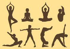 Yoga Silhouettes Pack Kostenlose Vektoren