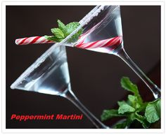 Candy canes 2 1/2 ounces vanilla vodka 1 oz peppermint schnapps Lime Fresh mint Ice Crush candy canes to rim the martini glasses. Chill the martini glasses by filling with crushed ice and cold water.  Remove the water and ice from martini glasses. Wet glass rim with lime wedge and coat with crushed candy canes.  Pour vodka and schnapps in a shaker over crushed ice and shake well. Strain peppermint martini into glass and add mint sprig. You  will love these festive drinks.