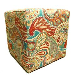 Contemporary Furniture   Upholstered Ottoman  Paisley by slgeorge