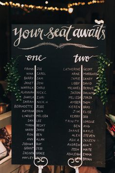 Chalk board seating chart for long table wedding reception | Raconteur Photography