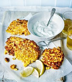 Smokey sweetcorn fritters with herb yogurt (served w tomato sauce & salad instead)