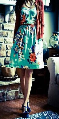 floral dress, cardigan, and necklace