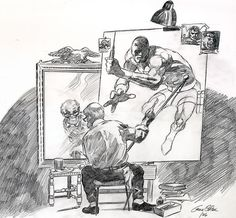 """Triple Self Portrait"" by Gene Colan 2006.  I had the idea for Gene to do a homage to the classic ""Triple Self Portrait"" by Norman Rockwell.  He was thrilled with the idea and it shows in this work."